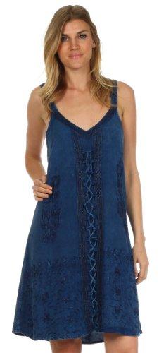 Sakkas robe en rayonne Jayanti brodée Bleu Marine