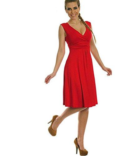 FLY Mode ärmelloses Kleid Der Reizvolle Tief V Großer Rock Red