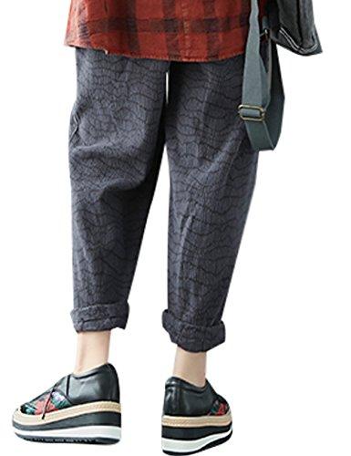 Youlee Donna Autunno Vita elastica A strisce Pantaloni Grigio