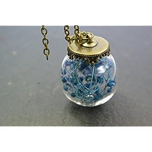 Halskette Kette mit Anhänger echte Blüten blautürkis