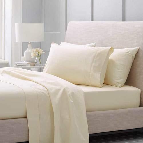 ANSE New Premium Hotesl Qualitäts-Bettwäsche, Serie 1000, TC, 4-teilig, 100% Bio-Pima-Baumwolle, Farbe: Elfenbein (1000 Tc Blatt)