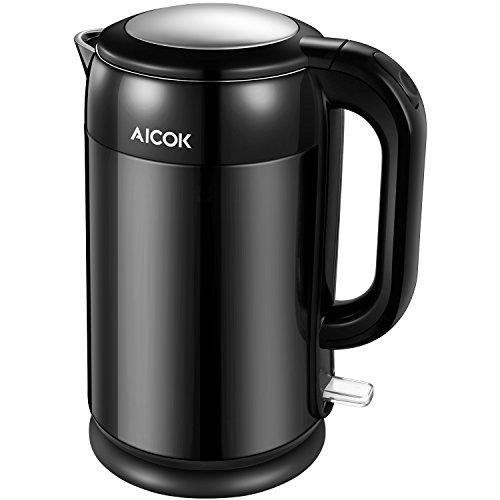 Aicok Wasserkocher Edelstahl | 1.7L Cool-Touch Doppelwand-Design Wasserkocher | 2200W Schnellkoch Wasserkocher | voller Edelstahl innen Wasserkessel | Automatisch Abschaltung |Schwarz