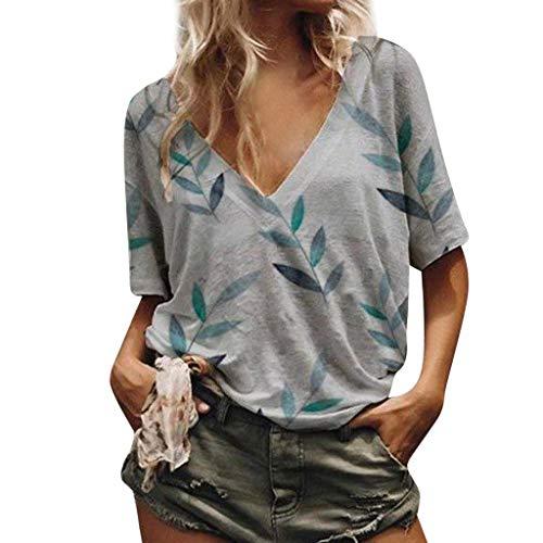 Kviklo Deman Plus Size T-Shirt Top V-Ausschnitt Bambusblätter Drucked Loose Kurzarm Bluse Oversize(2XL(44),Grau) (Deer Wolldecke)