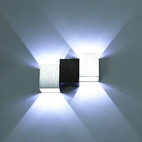 Amzdeal® Lampada da Parete led in Alluminio a Risparmio Energetico 6 w per Lampada del Corridoio, Soggiorno, Bar (Bianco Freddo)