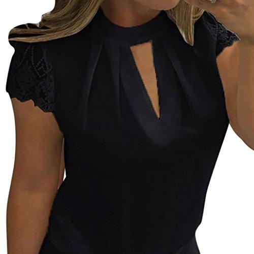 Elegante camicie da donna,meibax donne casual manica corta cucitura in chiffon pizzo camicetta casual sexy top o-neck magliette t-shirt elegante solido (nero, m)
