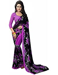 Ishin Women's Faux Georgette Saree With Blouse Piece (Swrya-Dd-Flowerviolet, Black & Purple, Free Size)
