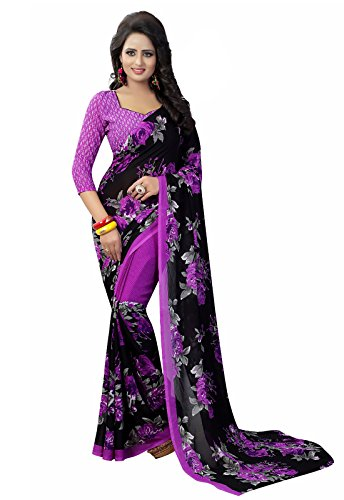 Ishin Faux Georgette Black & Purple Printed Party Wear Wedding Wear Casual Wear Festive Wear Bollywood New Collection Latest Design Trendy Women's Saree/Sari  available at amazon for Rs.449