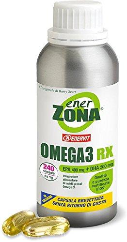 Enervit Enerzona Dieta Zone Integratore Alimentare per il Controllo del Colesterolo e Trigliceridi, Omega 3 RX - 240 Capsule da 1 gr (2)