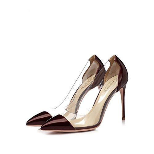 Vin rouge pointu chaussures à talons hauts avec des chaussures de couleurs mélangées en plastique transparent mince