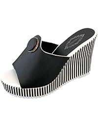 Chanclas para Mujer Verano 2018 PAOLIAN Playa Sandalias y Chanclas Cuña Zapatos de Plataforma Impermeable Rayas Fiesta Flip-Flops…