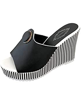 Chanclas para Mujer Verano 2018 PAOLIAN Playa Sandalias y Chanclas Cuña Zapatos de Plataforma Impermeable Rayas...