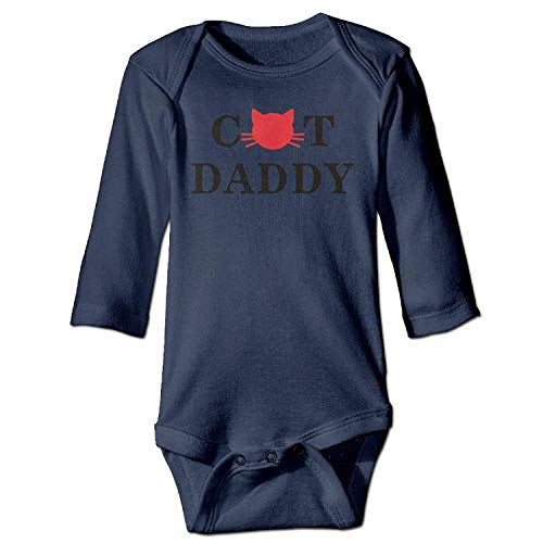 MSGDF Unisex Toddler Bodysuits Cat Daddy Funny Girls Babysuit Long Sleeve Jumpsuit Sunsuit Outfit Navy