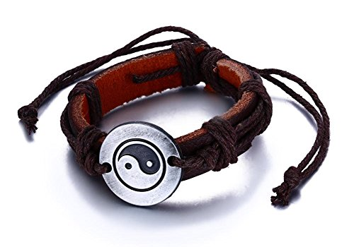 Vnox Antike Retro Style Tibetische Yin Yang Bagua Verstellbare Brown Hanf Leder Armband für Männer Frauen