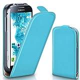 moex Samsung Galaxy S4 Mini | Hülle Türkis 360° Klapp-Hülle Etui thin Handytasche Dünn Handyhülle für Samsung Galaxy S4 Mini Case Flip Cover Schutzhülle Kunst-Leder Tasche