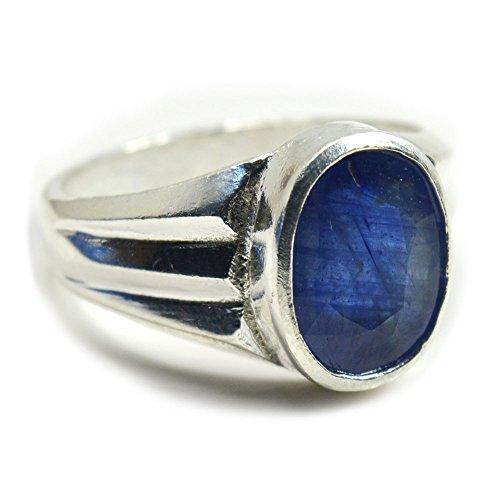 Jewelryonclick - anello da uomo in argento con zaffiro blu, 4 carati, pietra portafortuna del mese di settembre, 70 (22.3), colore: blue, cod. 3mjcbsmkr102-z