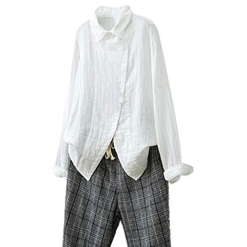 Bluse Damen Herbst Shirt Retro Beiläufige Lose Übergröße Einfarbig Langarm Knopf Lang Tops Bluse T-Shirt Lose Hemd Partytop Langshirt Tunika(M-3XL)