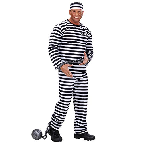 Karnevalskostüme Sträfling schwarz-weiss Kostüm Knasti Insasse Gefangener Verbrecher Verurteilter XL (Kostüme Halloween Gefangener Männer)