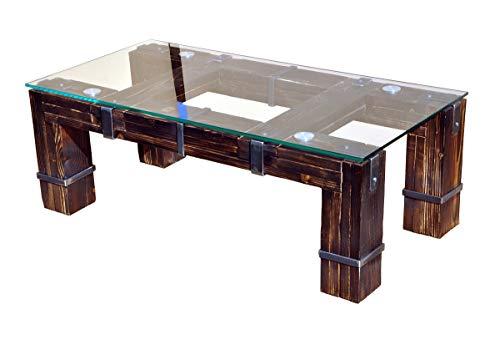 CHYRKA® Wohnzimmertisch Couchtisch Massivholz Metall Glastisch Holz Glas LEMBERG DROHOBYCZ Loft Handmade (Drohobycz-Natur, 90x60 cm H=50 cm) -