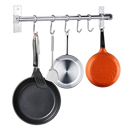 Btsky, appendino da muro in acciaio inox porta pentole, padelle e utensili da cucina, 40 cm con 6 ganci.