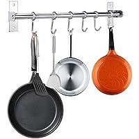 BTSKY Barra organizadora para utensilios de cocina, montaje en pared, acero inoxidable, 40cm, con 6 ganchos