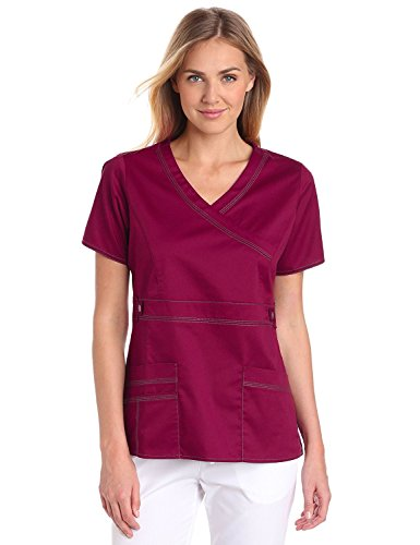 Dickies Scrubs Women's Gen Flex Junior Fit Contrast Stitch Mock Wrap Shirt, Wine, Large (Dickies-gen-flex-scrubs)