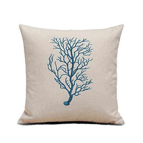 ODN Decorative Pillow Cover Case Decor 45cm X 45cm Square Shape Ocean Beach-Sea Print Starfish Seahorse Coral Dragonfly Black and White Face Design Cushion Covers (Small Coral)