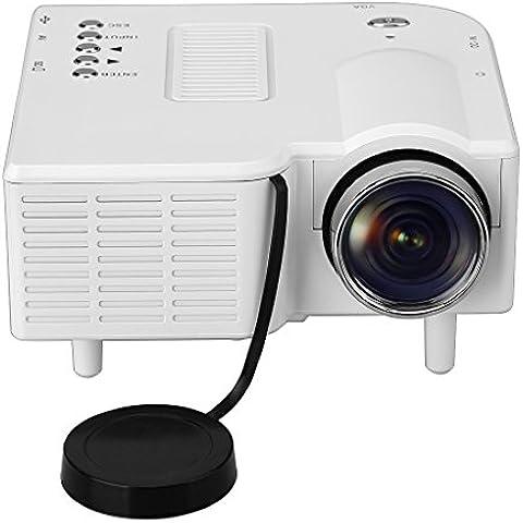 Excelvan GM40 - Mini Proyector LED LCD Portatil (Resolucion 320 x 240, Home Cinema, 400 Lumenes, 800:1, AV USB VGA HDMI SD, Conexion con PC Smartphone Tablet DVD),
