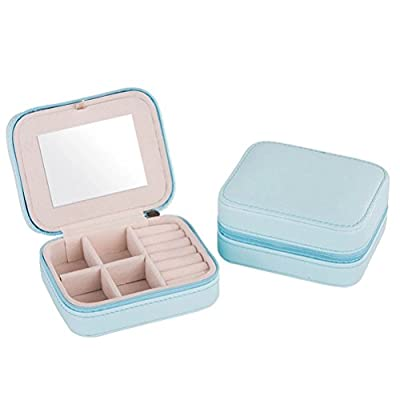 Jewelry Box Cabinet Mirror Mini Travel Case Holder For Earrings Necklace Bracelet PU Leather from Missrui