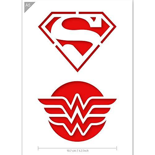 lone - Superman Schablone - Wonder Woman Schablone - A5 Größe - Wiederverwendbare kinderfreundliche DIY Schablone zum Malen, Backen, Basteln, Wand, Möbel ()