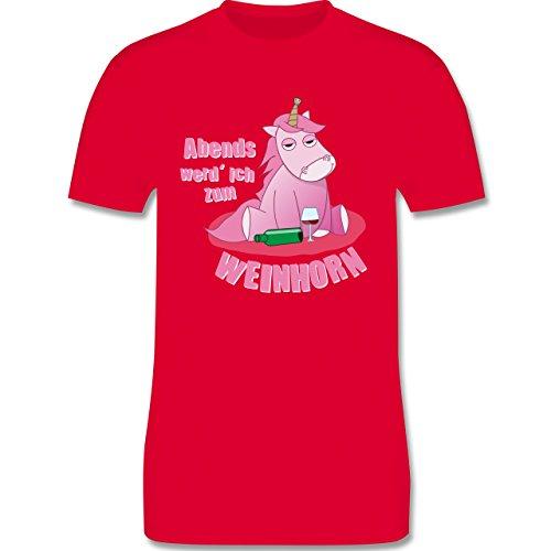 Shirtracer Einhörner - Abends Werd' Ich Zum Weinhorn - Herren T-Shirt Rundhals Rot