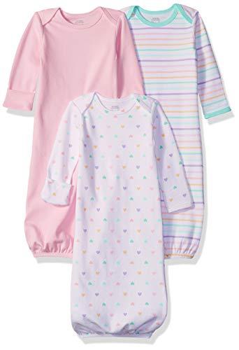 Amazon Essentials Baby-Schlafkleider für Mädchen, 3 Stück, Girl Heart, US 0-6M (EU 56-68)