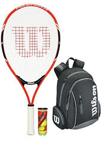 Wilson Junior Federer Tennis Set (Tennis Racket + Backpack + 3 Tennis Balls)
