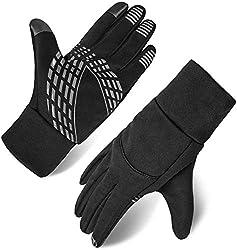 Men's Touch Screen Gloves Winter Gloves Anti-slip Outdoor Sport Gloves (Black, L)
