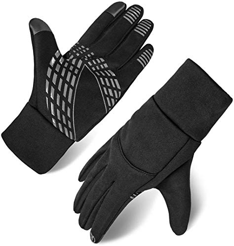 Herren Touchscreen Handschuhe Winterhandschuhe Anti-Rutsch Outdoor Sport Handschuhe (Schwarz, M)