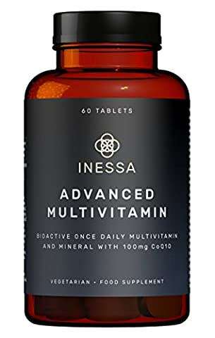 Multivitamin with CoQ10 100mg, Vitamin D3 2000 IU, K2 100mcg, B Complex, Vitamins A 800mcg, Folic Acid as 5-MTHF 400mcg, Zinc 20mg and Lutein in their most absorbable forms at optimal levels based on research based evidence.