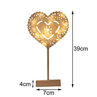 Tutoy Christmas LED Wooden Table Mini Night Light Desk Lamp Wedding Bedroom Christmas Decor Gifts - 2
