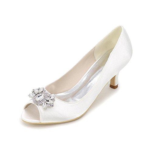 Elegant Tacchi Da Donna Primavera Estate Primavera Estate Seta Nozze Casual Party & Sera Stiletto Heel Rhinestone Sliver Rosso Blu Bianco Viola White