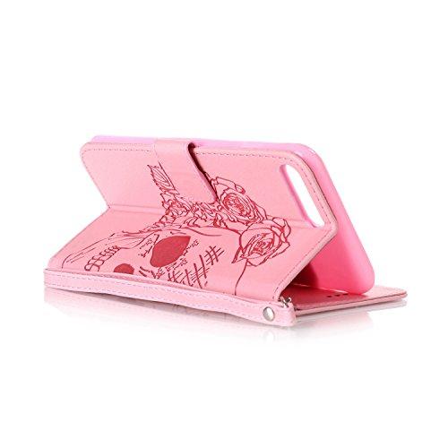 iPhone 6Custodia Sottile, toyym iPhone 7PU Custodia in pelle per carte di credito e contanti], Pretty fiore 3d Acchiappasogni Pressed Pattern Custodia a portafoglio Flip Chiusura Magnetica Book Desi Pink Skull