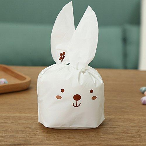Lanlan 50/lot Cute Ohr Kaninchen Kunststoff Candy Biscuit Verpackung Geschenkpapier behandeln Geschenk Tüte, coffee (Cotton Candy Rock Candy)