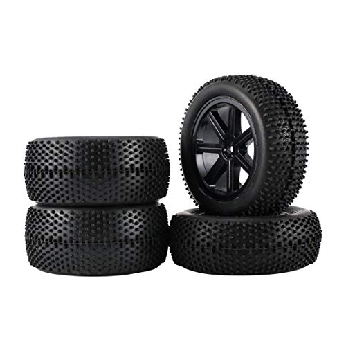 Kaemma 2 Paar 85mm Radnaben Rim & Rubber Tires Für 01.10 Off-Road RC Car Buggy-Reifen Ersatzteile Zubehör Komponenten (Farbe: Schwarz)