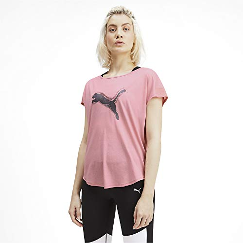 Cat Damen Rosa T-shirt (Puma Damen Studio Mesh Cat Tee T-Shirt, Bridal Rose, M)