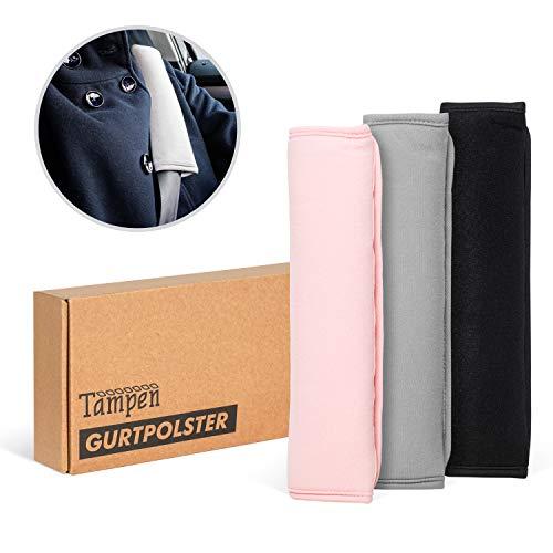Tampen Gurtpolster Set · 2 Stück · für Erwachsene und Kinder · hochwertig verarbeitet · universelle Größe · Maschinenwaschbar · Doppelpack · Grau - 2 Stück Polster