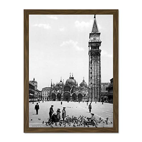 Doppelganger33 LTD Piazza San Marco Campanile Venice Italy 1895 Old BW Photo Large Framed Art Print Poster Wall Decor 18x24 inch Supplied Ready to Hang
