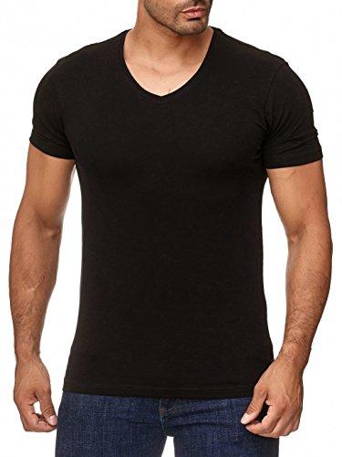 usschnitt - Slim-Fit/Figurbetont - Oversize - Meliert - Modernes Kurzarm Vintage Shirt Schwarz L (Machen Sie Einen Hoodie)