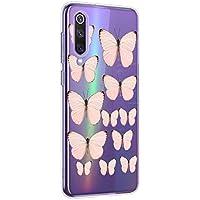 Oihxse Funda Conpatible con Xiaomi Redmi Note 6 Pro Silicona Transparente Dibujos Mariposa Cover Suave TPU Gel Cristal Clear Delgada Anti- Arañazos Protección Carcasa Case,Rosado
