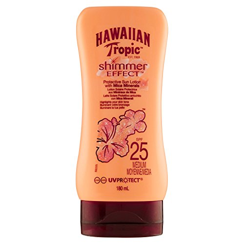 HAWAIIAN TROPIC SHIMMER EFFECT PROTECTIVE SUN LOTION WITH MICA MINERALS SPF25 MEDIUM 180ML