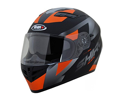 Shiro SH-600 Full Face Helmet (Matte Black & KTM Orange,XL)