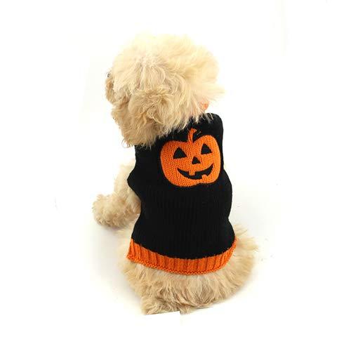 Qnmm maglieria per cani abbigliamento per cani felpa per animali domestici maglione lavorato a maglia per cani pet vestito da zucca di halloween adatto,l