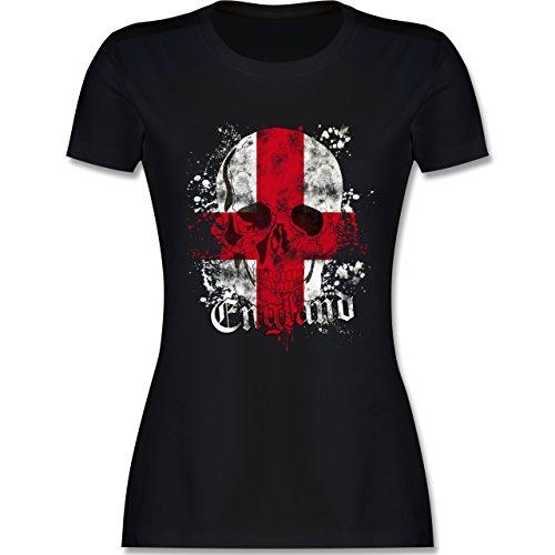 EM 2016 - Frankreich - England Schädel Vintage - tailliertes Premium T-Shirt mit Rundhalsausschnitt für Damen Schwarz