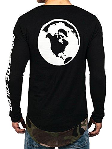 BOLF Herren Longsleeve Sweatshirt Pullover Langarmshirt Pulli Camo 1A1 Motiv Schwarz-Grün